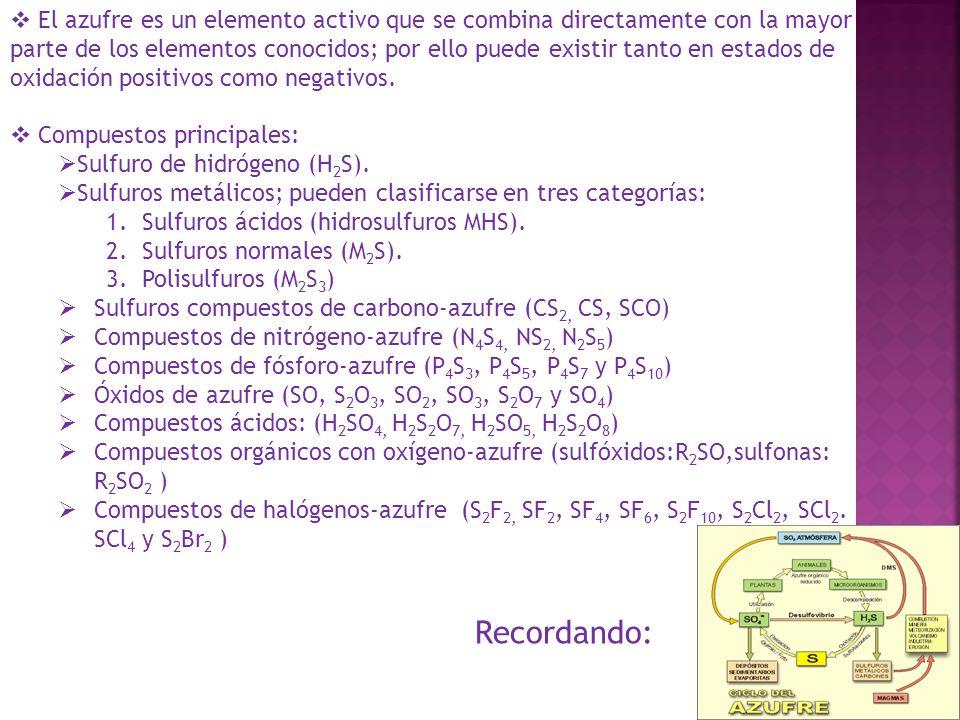El azufre es un elemento activo que se combina directamente con la mayor parte de los elementos conocidos; por ello puede existir tanto en estados de