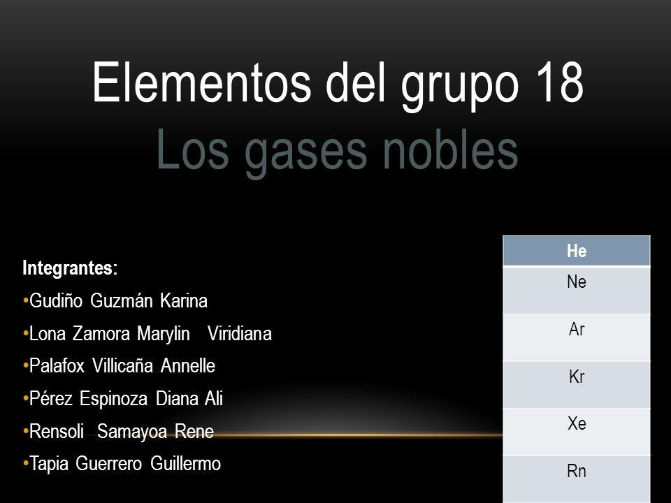 He Ne Ar Kr Xe Rn Elementos del grupo 18 Los gases nobles Integrantes: Gudiño Guzmán Karina Lona Zamora Marylin Viridiana Palafox Villicaña Annelle Pé