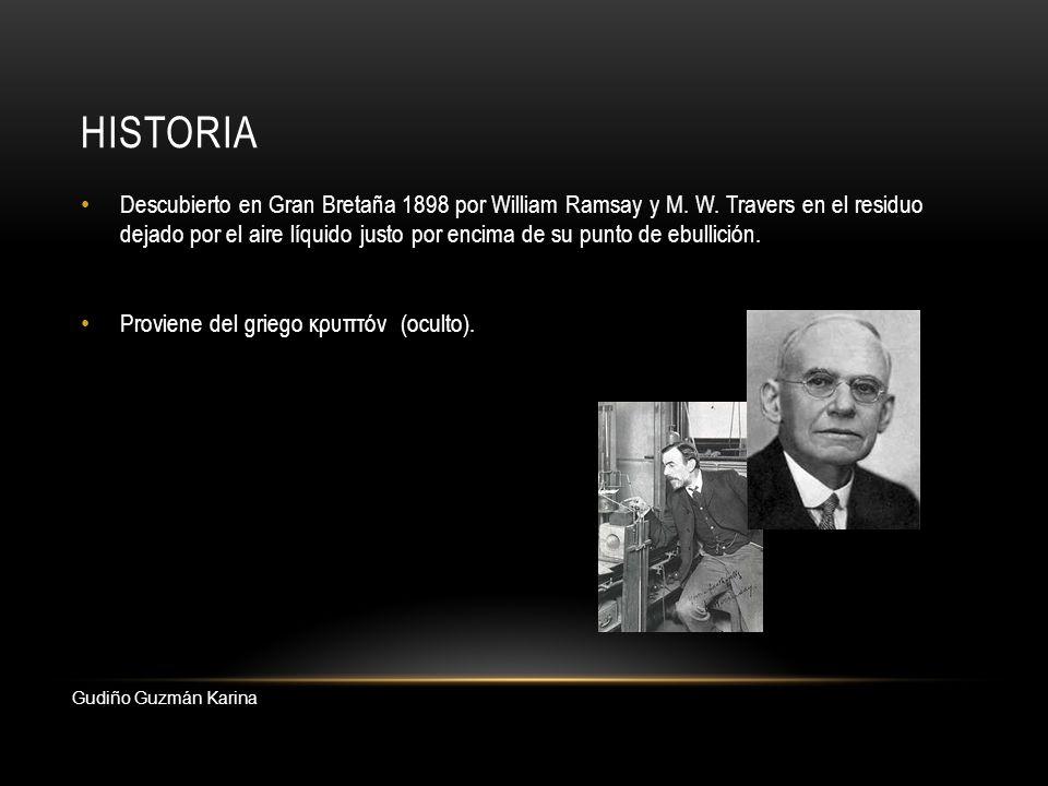 HISTORIA Descubierto en Gran Bretaña 1898 por William Ramsay y M. W. Travers en el residuo dejado por el aire líquido justo por encima de su punto de
