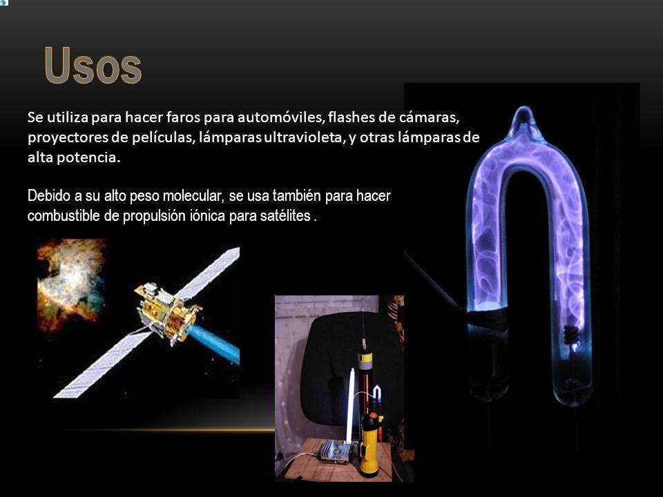 Debido a su alto peso molecular, se usa también para hacer combustible de propulsión iónica para satélites. Se utiliza para hacer faros para automóvil