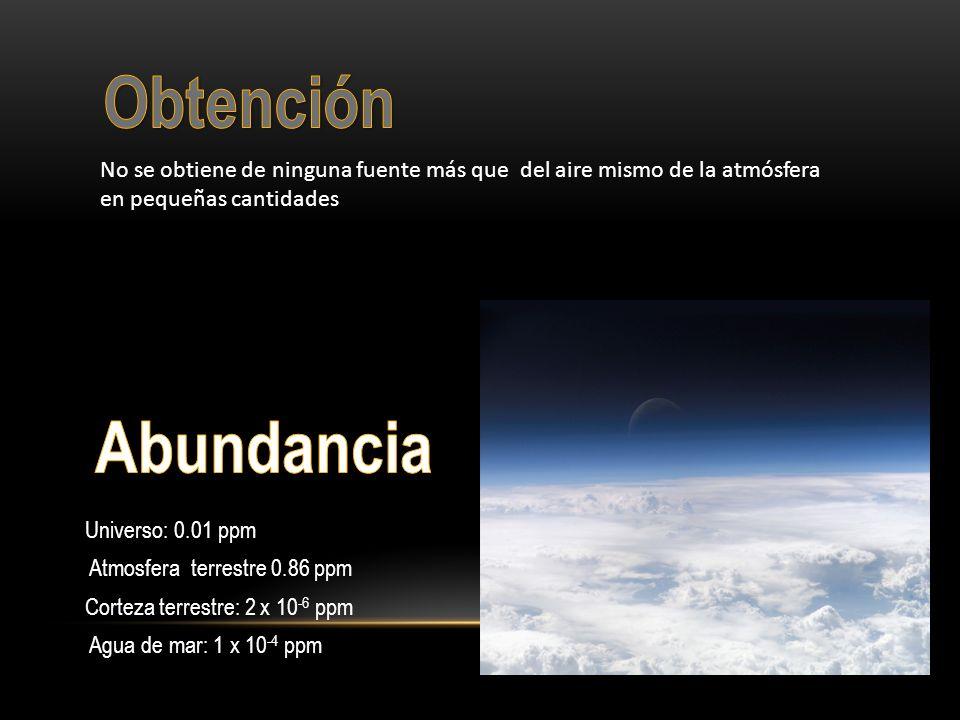 Universo: 0.01 ppm Atmosfera terrestre 0.86 ppm Corteza terrestre: 2 x 10 -6 ppm Agua de mar: 1 x 10 -4 ppm No se obtiene de ninguna fuente más que de
