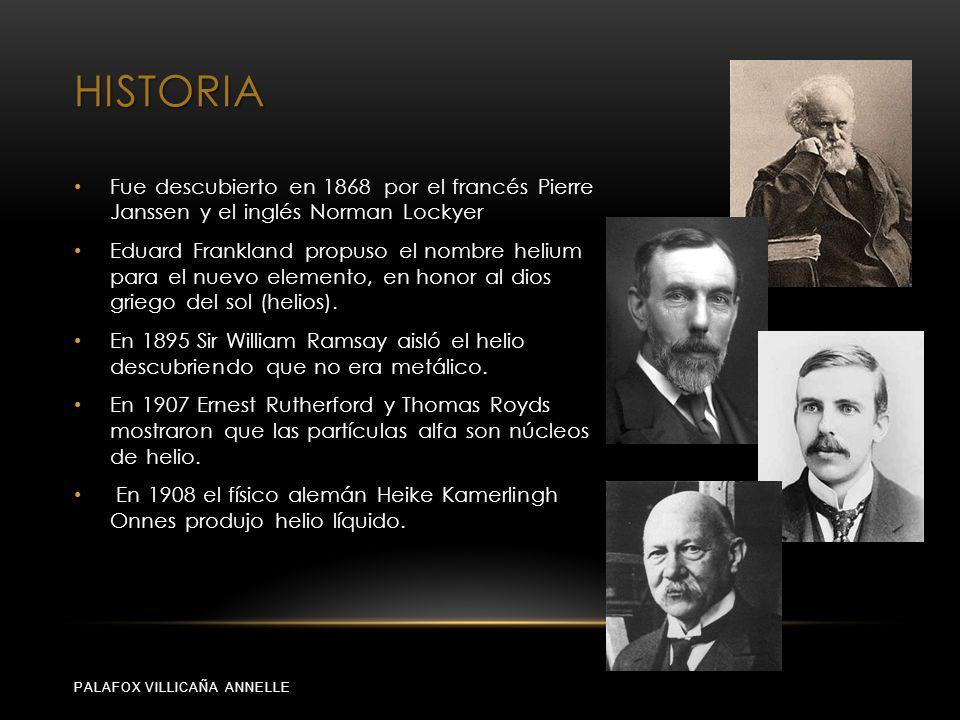 HISTORIA PALAFOX VILLICAÑA ANNELLE Fue descubierto en 1868 por el francés Pierre Janssen y el inglés Norman Lockyer Eduard Frankland propuso el nombre