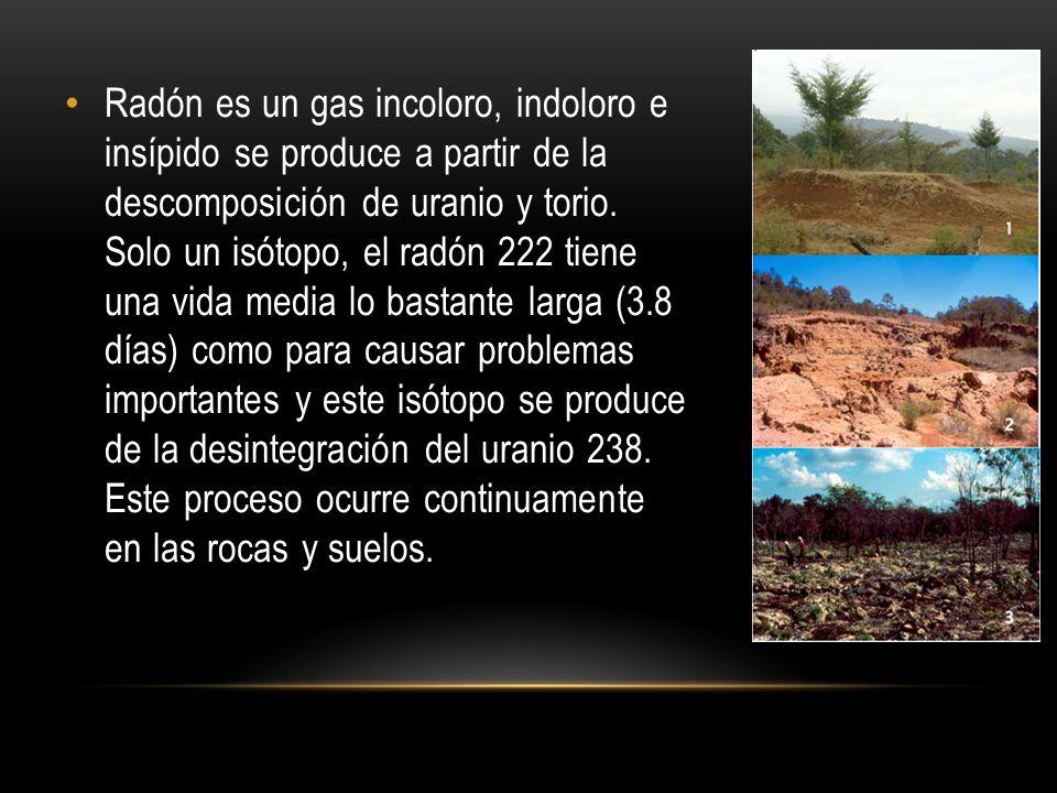 Radón es un gas incoloro, indoloro e insípido se produce a partir de la descomposición de uranio y torio. Solo un isótopo, el radón 222 tiene una vida