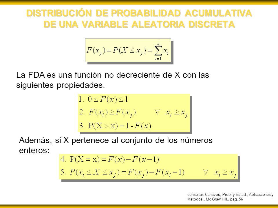 DISTRIBUCIÓN DE PROBABILIDAD ACUMULATIVA DE UNA VARIABLE ALEATORIA DISCRETA La FDA es una función no decreciente de X con las siguientes propiedades.