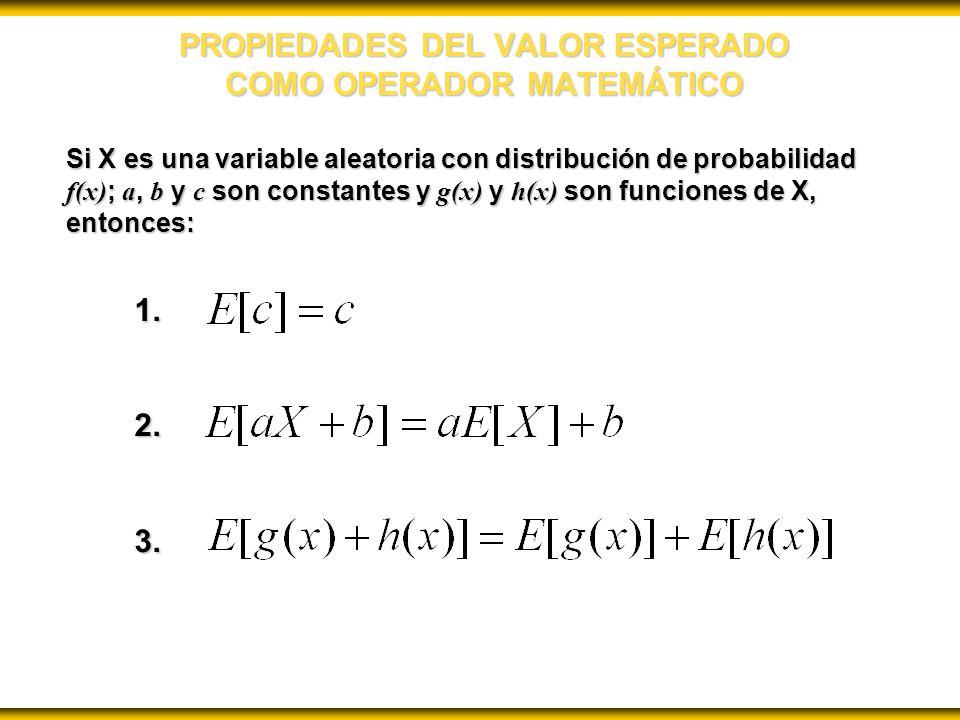 PROPIEDADES DEL VALOR ESPERADO COMO OPERADOR MATEMÁTICO Si X es una variable aleatoria con distribución de probabilidad f(x) ; a, b y c son constantes y g(x) y h(x) son funciones de X, entonces: 1.2.3.