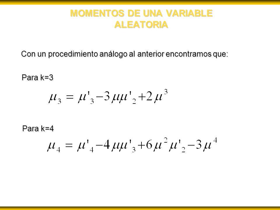 MOMENTOS DE UNA VARIABLE ALEATORIA Con un procedimiento análogo al anterior encontramos que: Para k=3 Para k=4