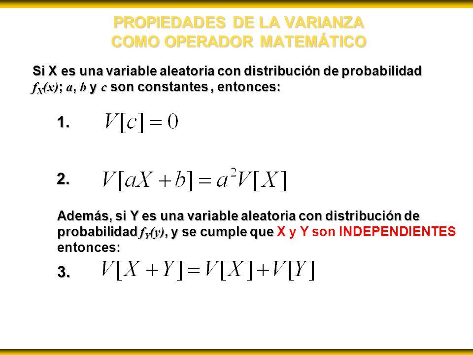 PROPIEDADES DE LA VARIANZA COMO OPERADOR MATEMÁTICO Si X es una variable aleatoria con distribución de probabilidad f X (x) ; a, b y c son constantes, entonces: 1.2.