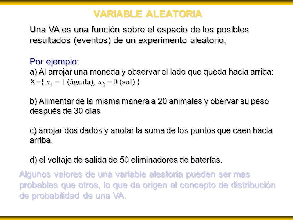 VARIABLE ALEATORIA Una VA es una función sobre el espacio de los posibles resultados (eventos) de un experimento aleatorio, Por ejemplo: a) Al arrojar