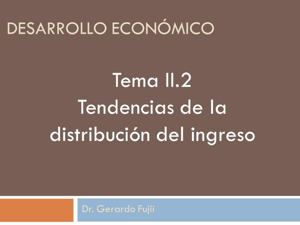 DESARROLLO ECONÓMICO Dr. Gerardo Fujii Tema II.2 Tendencias de la distribución del ingreso