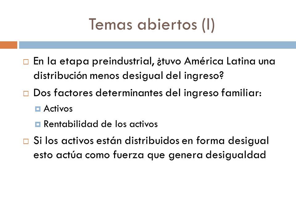 Temas abiertos (I) En la etapa preindustrial, ¿tuvo América Latina una distribución menos desigual del ingreso? Dos factores determinantes del ingreso