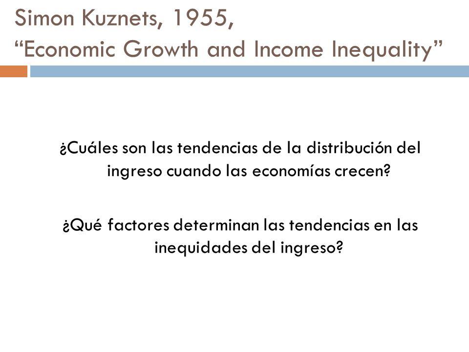 Simon Kuznets, 1955, Economic Growth and Income Inequality ¿Cuáles son las tendencias de la distribución del ingreso cuando las economías crecen? ¿Qué