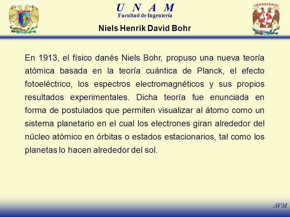 U N A M Facultad de Ingeniería AVM En 1913, el físico danés Niels Bohr, propuso una nueva teoría atómica basada en la teoría cuántica de Planck, el ef
