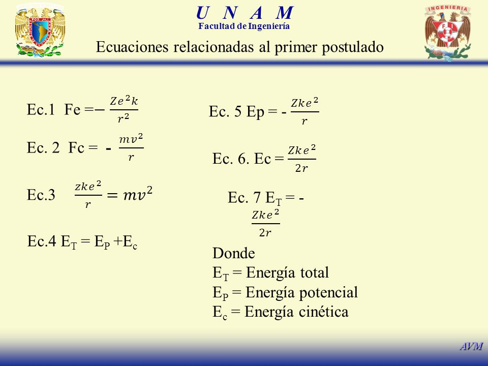 U N A M Facultad de Ingeniería AVM Ec.4 E T = E P +E c Ecuaciones relacionadas al primer postulado Donde E T = Energía total E P = Energía potencial E