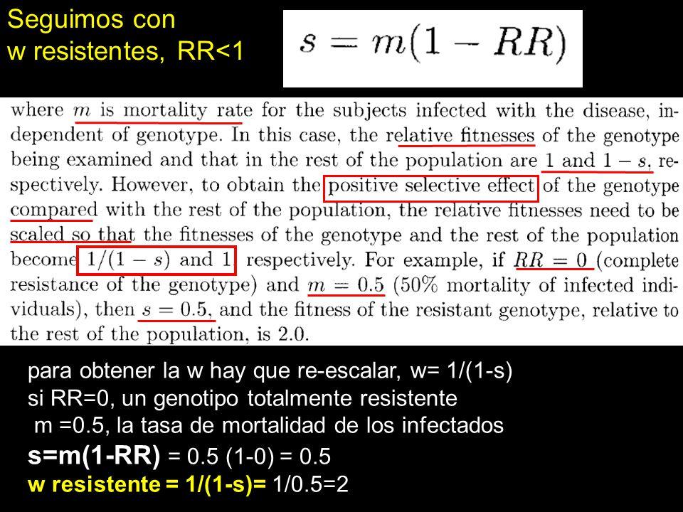 Seguimos con w resistentes, RR<1 para obtener la w hay que re-escalar, w= 1/(1-s) si RR=0, un genotipo totalmente resistente m =0.5, la tasa de mortal