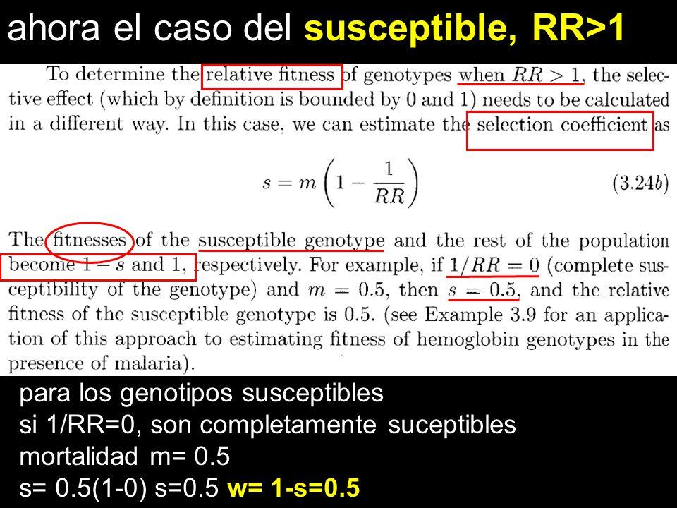 ahora el caso del susceptible, RR>1 para los genotipos susceptibles si 1/RR=0, son completamente suceptibles mortalidad m= 0.5 s= 0.5(1-0) s=0.5 w= 1-