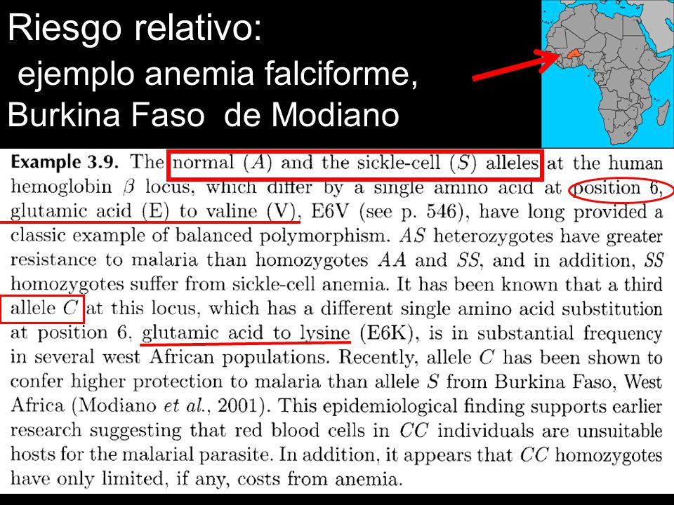 Riesgo relativo: ejemplo anemia falciforme, Burkina Faso de Modiano