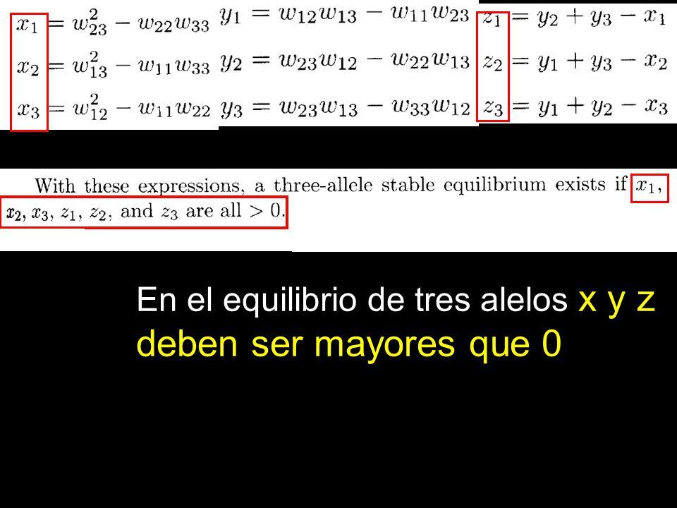 En el equilibrio de tres alelos x y z deben ser mayores que 0