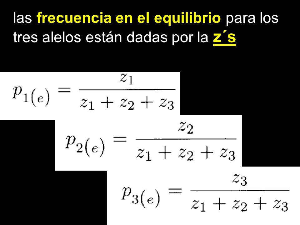 las frecuencia en el equilibrio para los tres alelos están dadas por la z´s