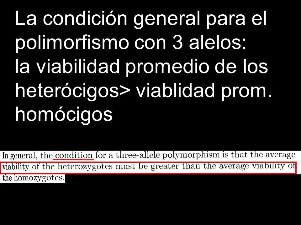 La condición general para el polimorfismo con 3 alelos: la viabilidad promedio de los heterócigos> viablidad prom. homócigos