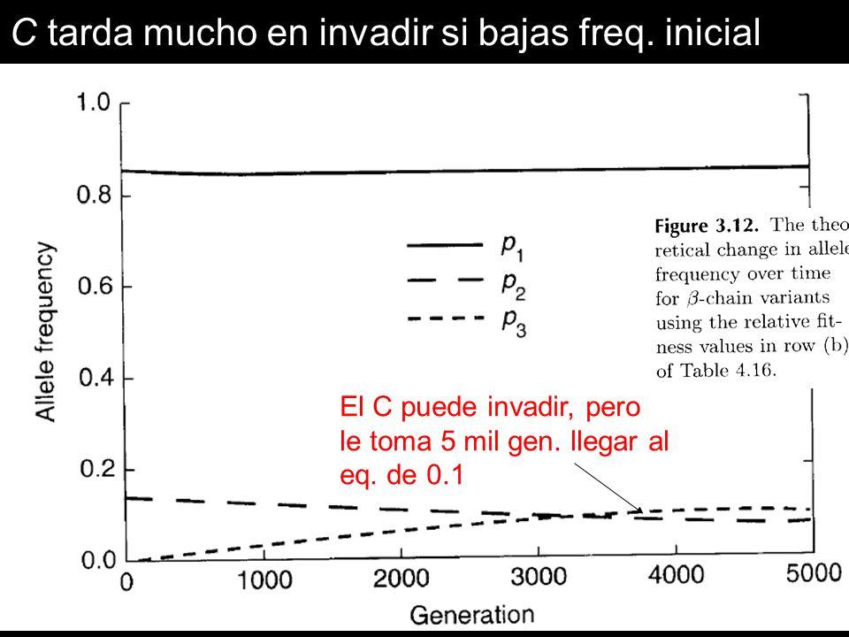 El C puede invadir, pero le toma 5 mil gen. llegar al eq. de 0.1 C tarda mucho en invadir si bajas freq. inicial