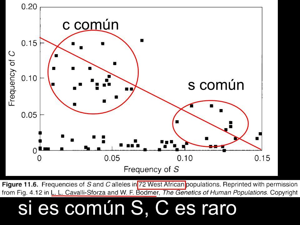 si es común S, C es raro c común s común