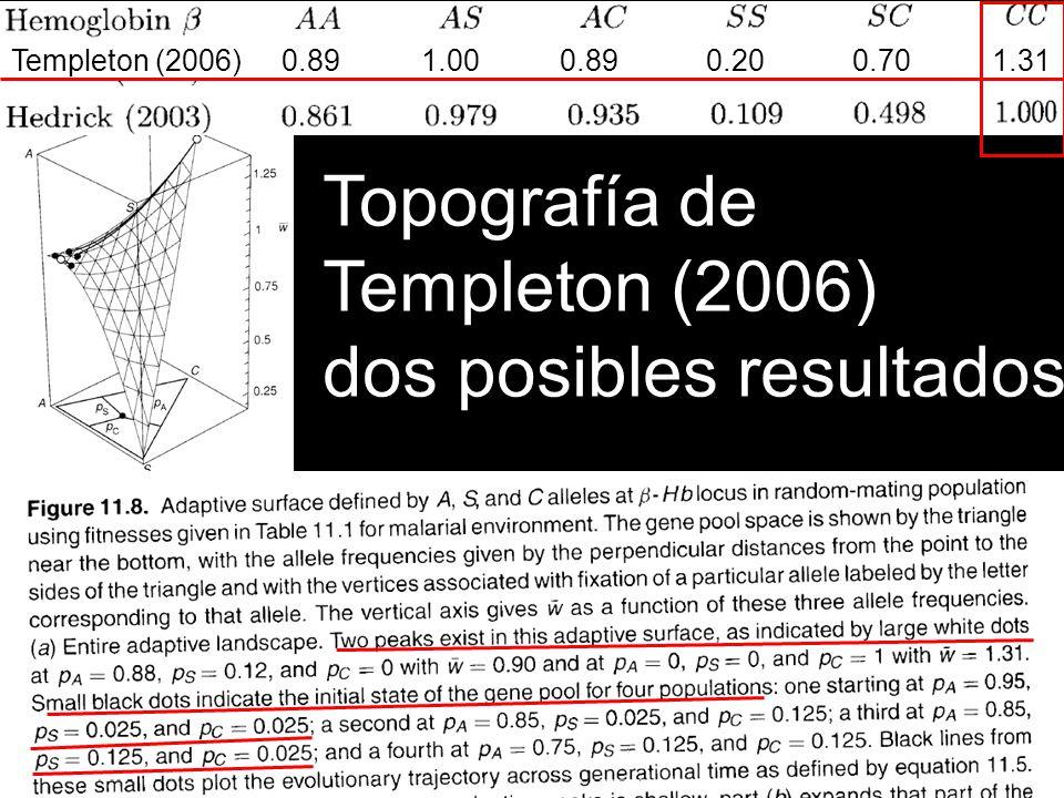 Topografía de Templeton (2006) dos posibles resultados Templeton (2006) 0.89 1.00 0.89 0.20 0.70 1.31