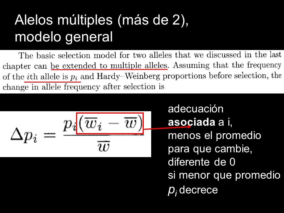 Alelos múltiples (más de 2), modelo general adecuación asociada a i, menos el promedio para que cambie, diferente de 0 si menor que promedio p i decre