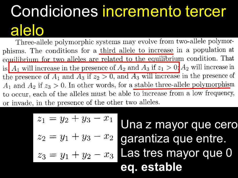 Condiciones incremento tercer alelo Una z mayor que cero garantiza que entre. Las tres mayor que 0 eq. estable