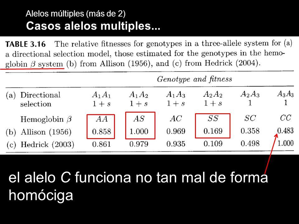 Alelos múltiples (más de 2) Casos alelos multiples... el alelo C funciona no tan mal de forma homóciga