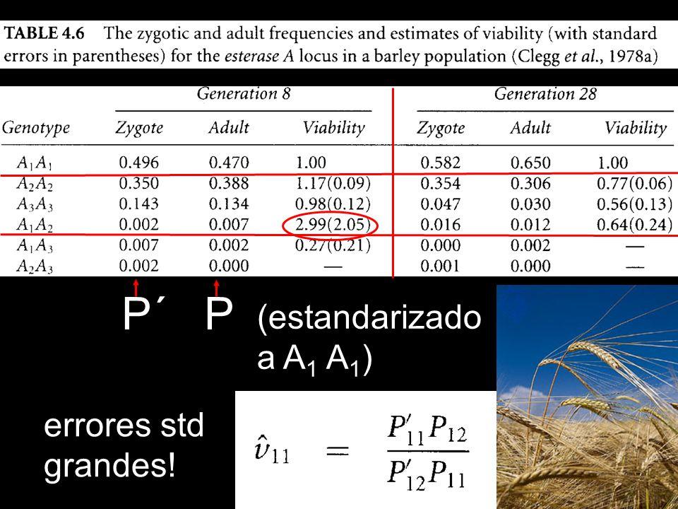 P´ P (estandarizado a A 1 A 1 ) errores std grandes!