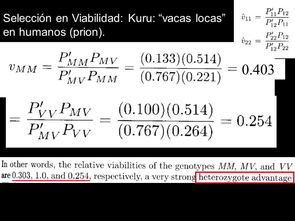 Selección en Viabilidad: Kuru: vacas locas en humanos (prion). 0.403