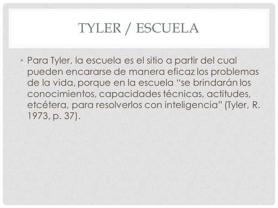 TYLER / ESCUELA Para Tyler, la escuela es el sitio a partir del cual pueden encararse de manera eficaz los problemas de la vida, porque en la escuela