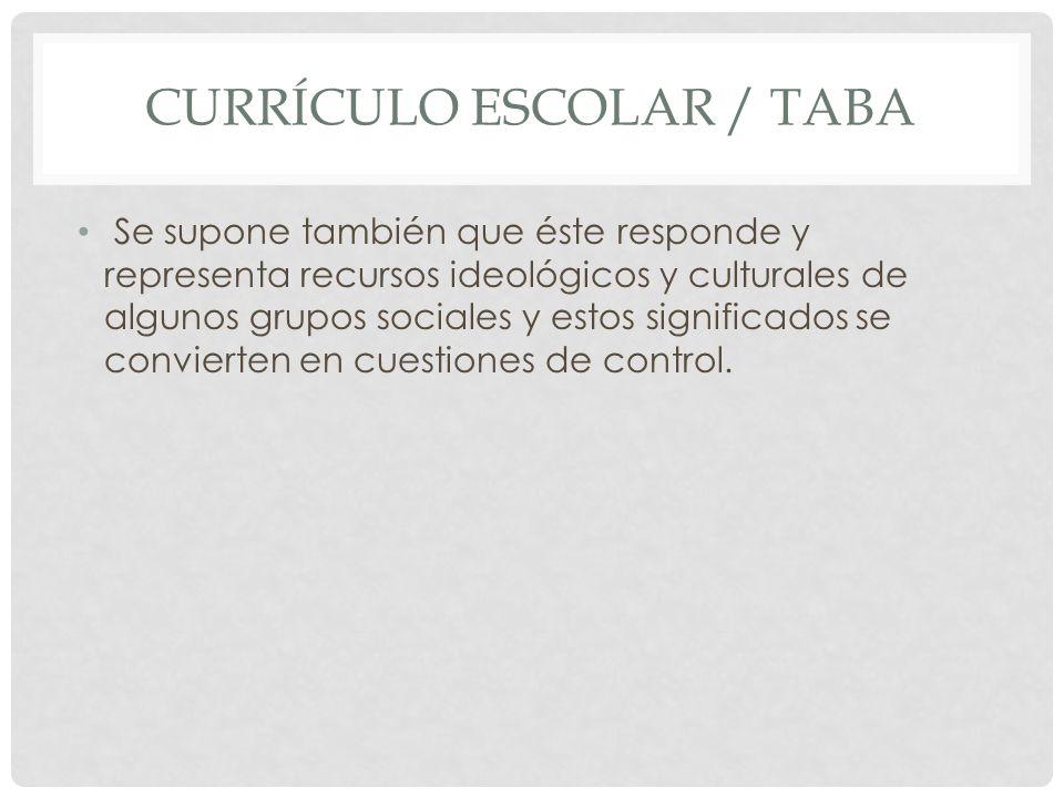 CURRÍCULO ESCOLAR / TABA Se supone también que éste responde y representa recursos ideológicos y culturales de algunos grupos sociales y estos signifi