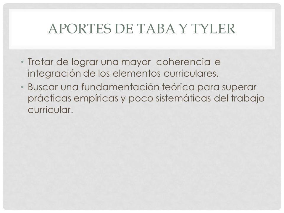 APORTES DE TABA Y TYLER Tratar de lograr una mayor coherencia e integración de los elementos curriculares. Buscar una fundamentación teórica para supe