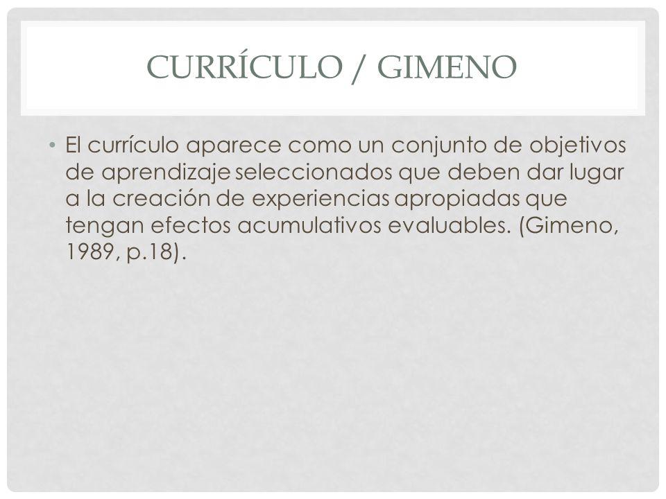 CURRÍCULO / GIMENO El currículo aparece como un conjunto de objetivos de aprendizaje seleccionados que deben dar lugar a la creación de experiencias a
