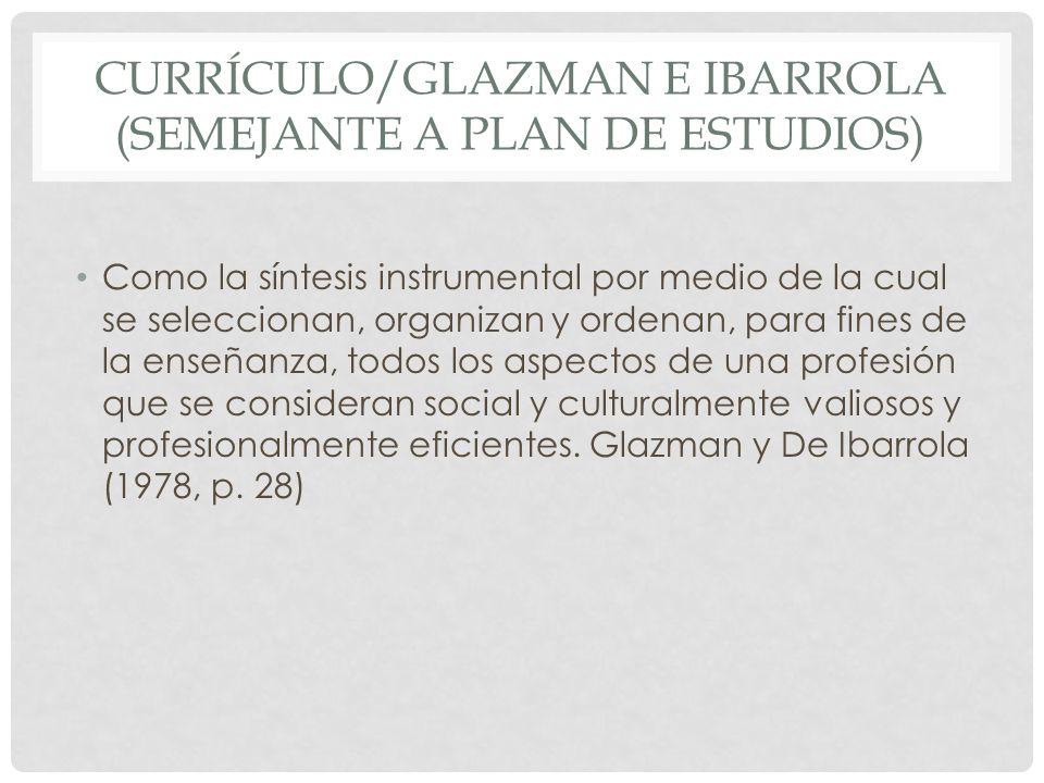 CURRÍCULO/GLAZMAN E IBARROLA (SEMEJANTE A PLAN DE ESTUDIOS) Como la síntesis instrumental por medio de la cual se seleccionan, organizan y ordenan, pa