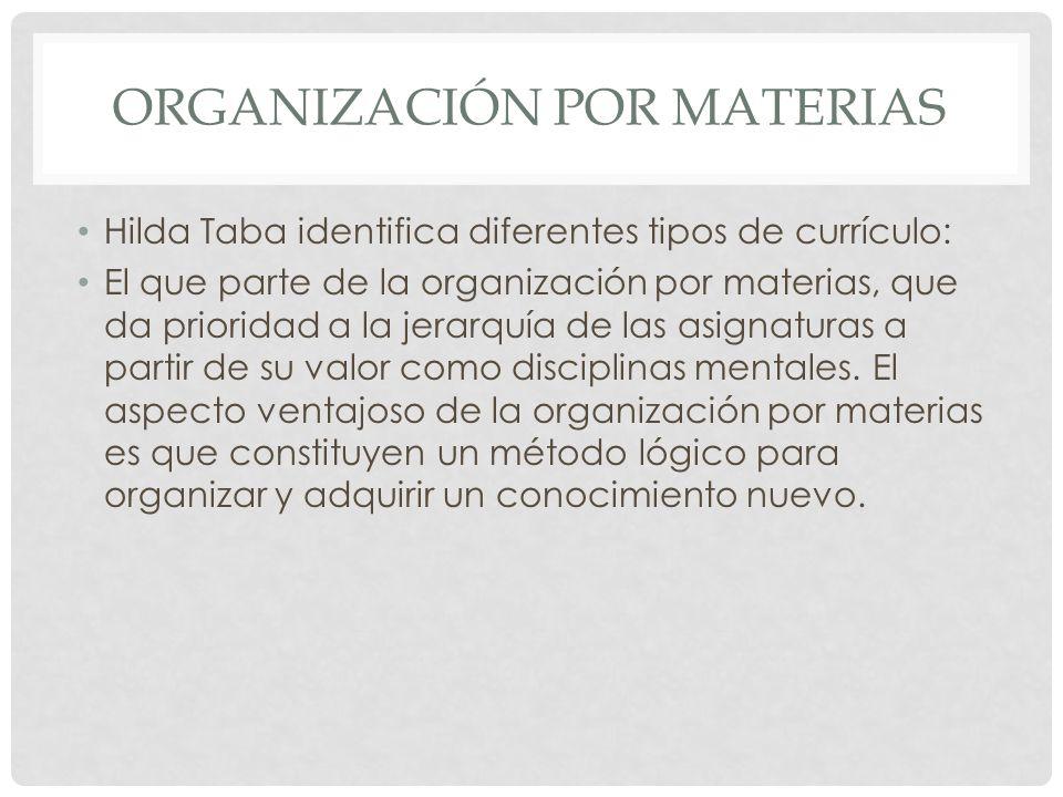 ORGANIZACIÓN POR MATERIAS Hilda Taba identifica diferentes tipos de currículo: El que parte de la organización por materias, que da prioridad a la jer