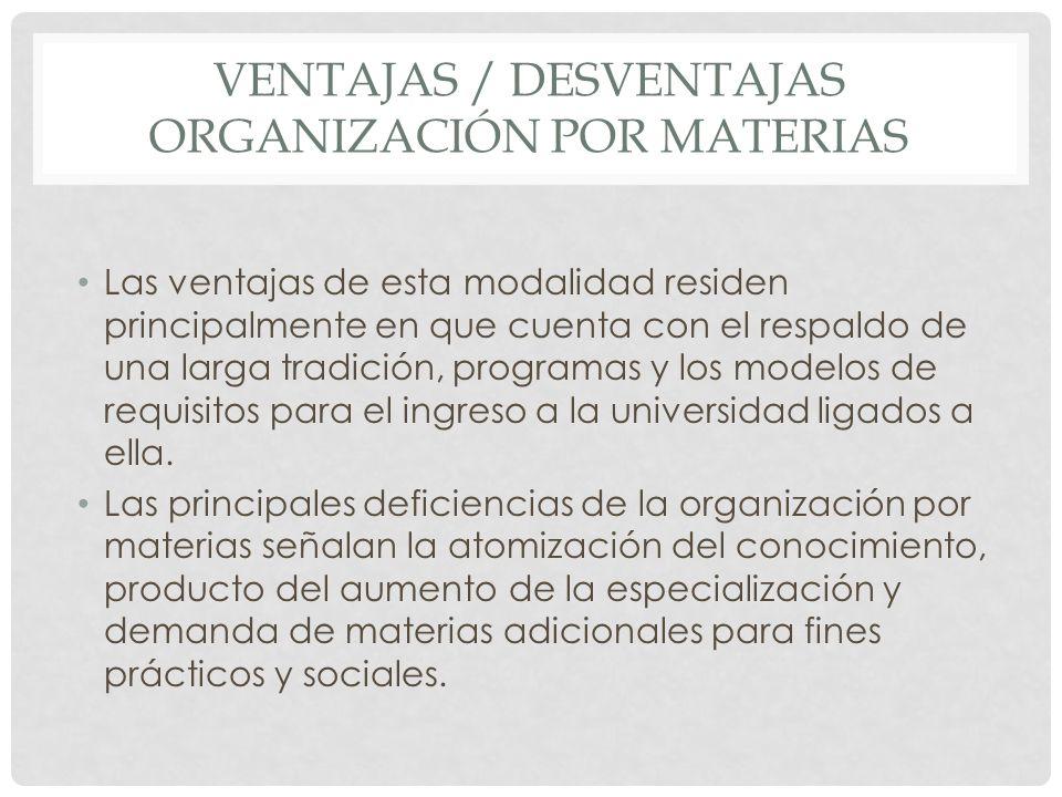 VENTAJAS / DESVENTAJAS ORGANIZACIÓN POR MATERIAS Las ventajas de esta modalidad residen principalmente en que cuenta con el respaldo de una larga trad