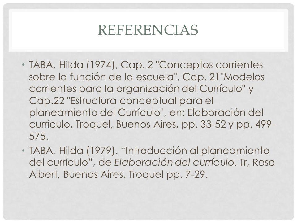 REFERENCIAS TABA, Hilda (1974), Cap. 2