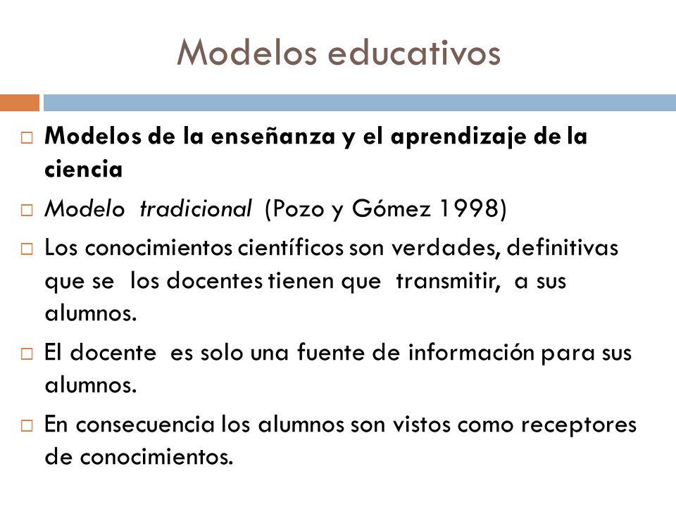 Modelos educativos Modelos de la enseñanza y el aprendizaje de la ciencia Modelo tradicional (Pozo y Gómez 1998) Los conocimientos científicos son ver