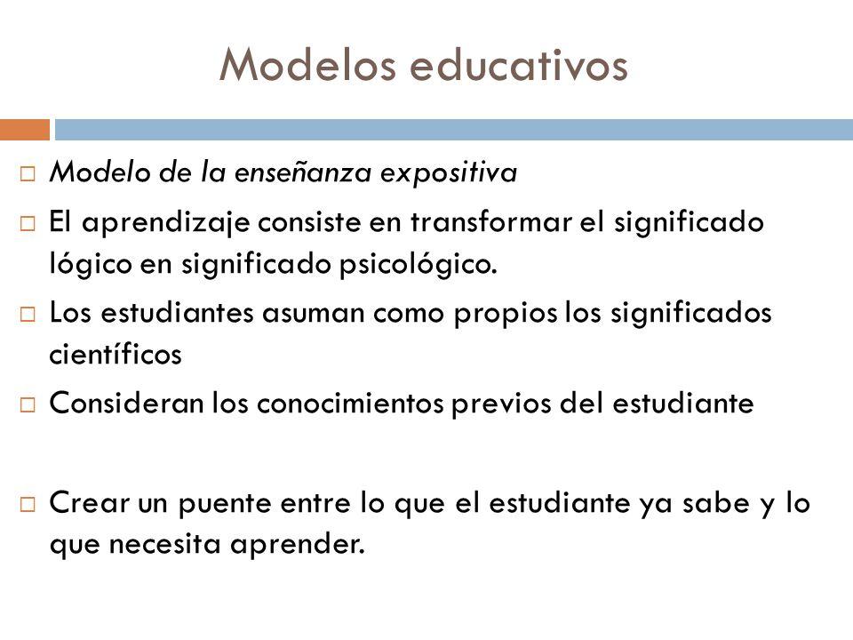 Modelos educativos Modelo de la enseñanza expositiva El aprendizaje consiste en transformar el significado lógico en significado psicológico. Los estu