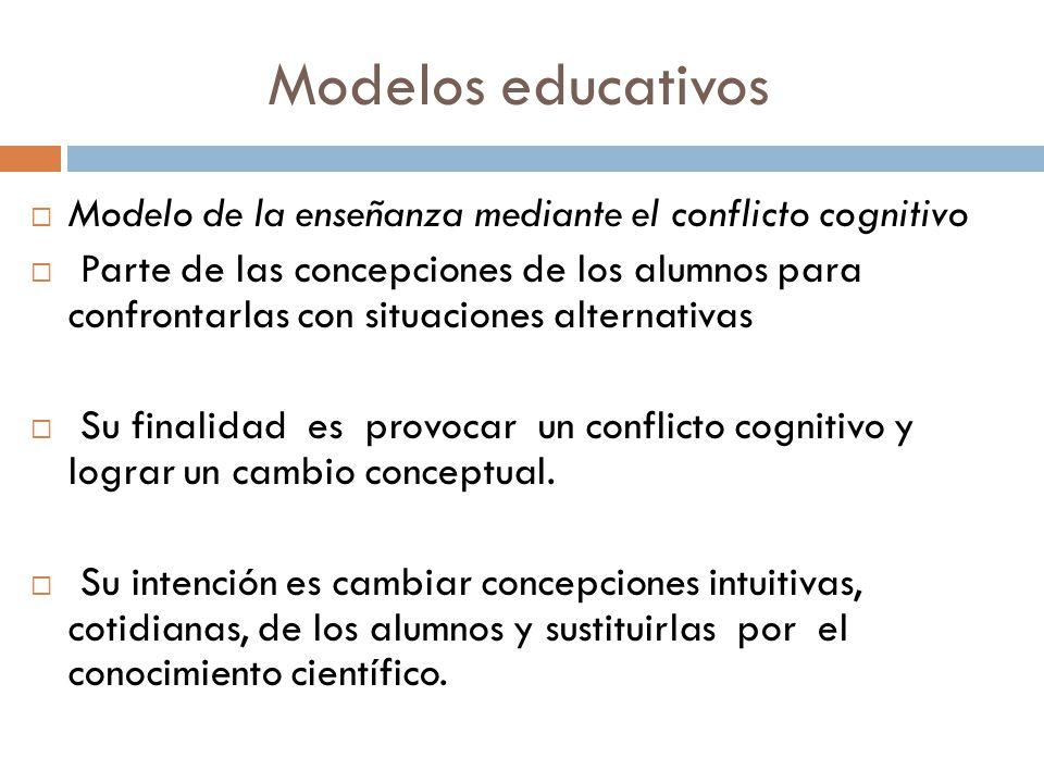 Modelos educativos Modelo de la enseñanza mediante el conflicto cognitivo Parte de las concepciones de los alumnos para confrontarlas con situaciones