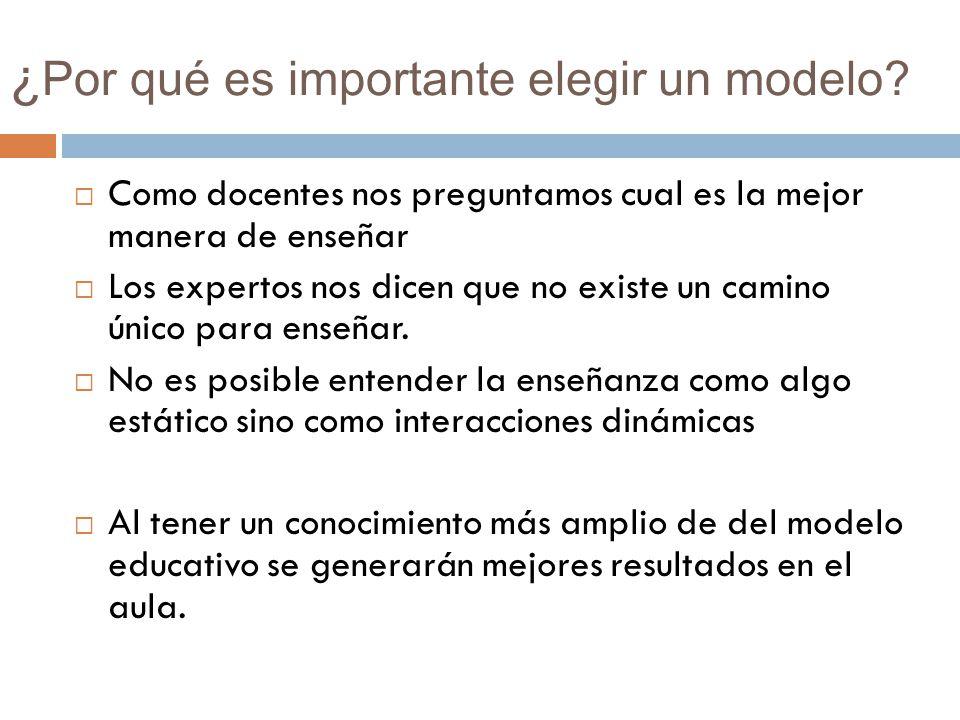 ¿ Por qué es importante elegir un modelo? Como docentes nos preguntamos cual es la mejor manera de enseñar Los expertos nos dicen que no existe un cam