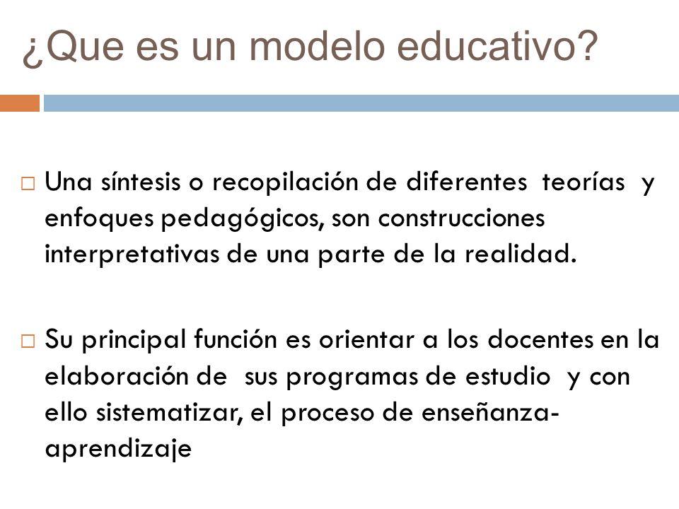 ¿Que es un modelo educativo? Una síntesis o recopilación de diferentes teorías y enfoques pedagógicos, son construcciones interpretativas de una parte