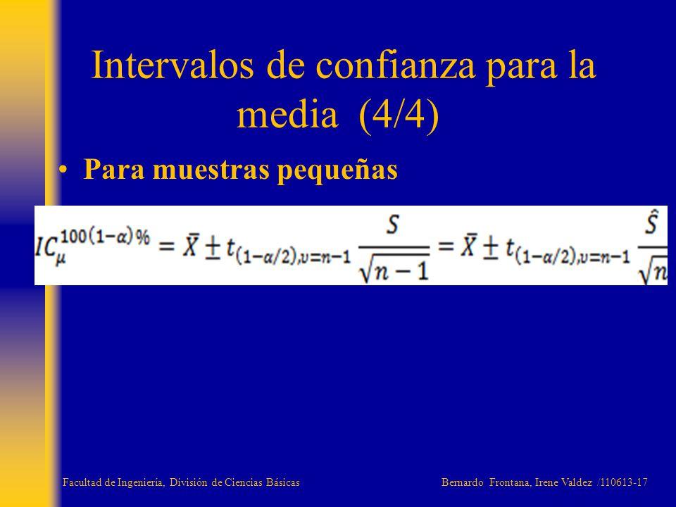 Para muestras pequeñas Intervalos de confianza para la media (4/4) Facultad de Ingeniería, División de Ciencias Básicas Bernardo Frontana, Irene Valde