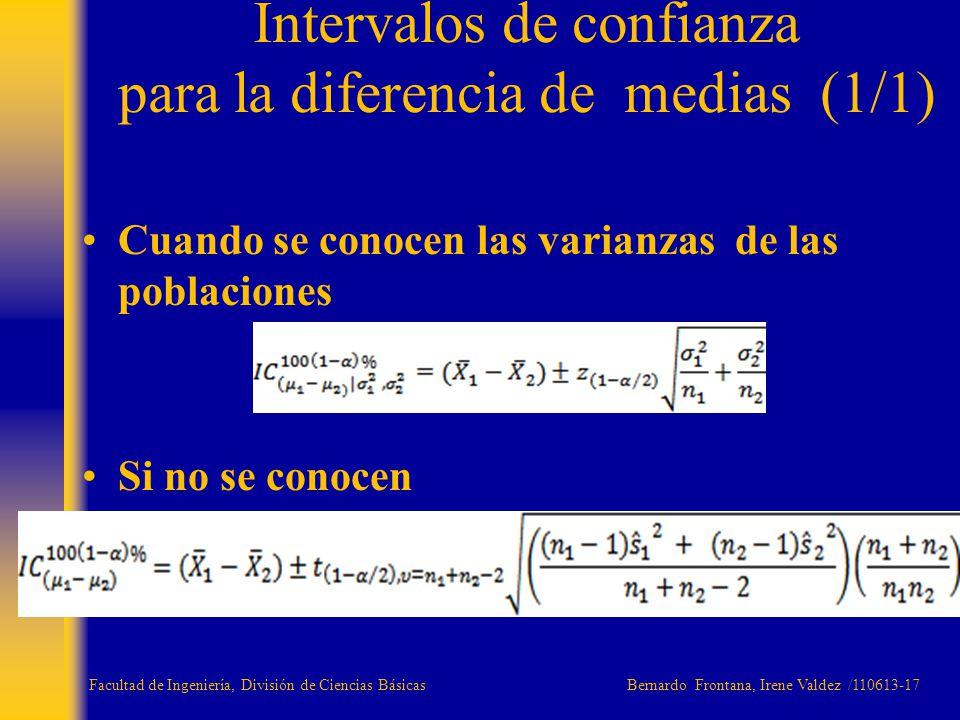 Cuando se conocen las varianzas de las poblaciones Si no se conocen Intervalos de confianza para la diferencia de medias (1/1) Facultad de Ingeniería,