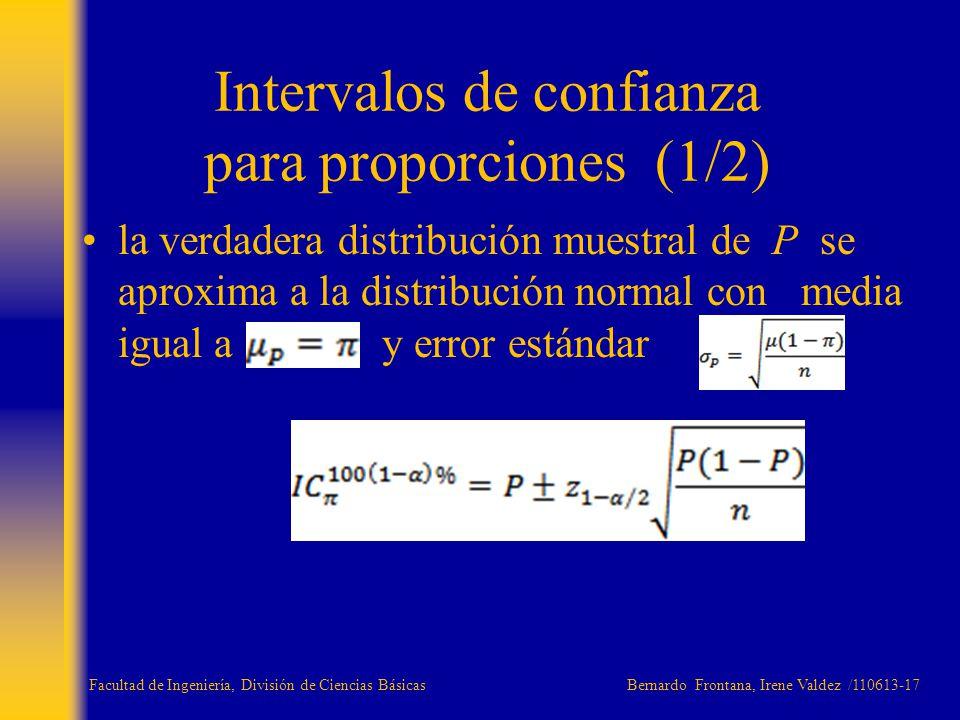 la verdadera distribución muestral de P se aproxima a la distribución normal con media igual a y error estándar Intervalos de confianza para proporcio