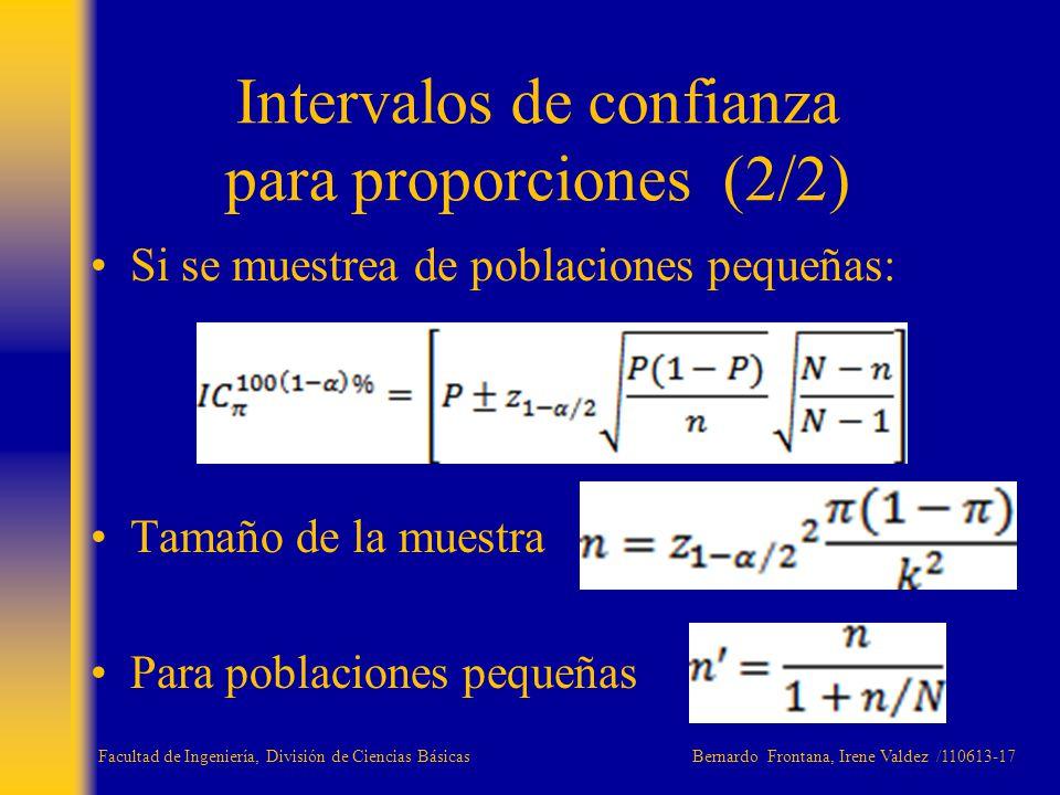 Si se muestrea de poblaciones pequeñas: Tamaño de la muestra Para poblaciones pequeñas Intervalos de confianza para proporciones (2/2) Facultad de Ing