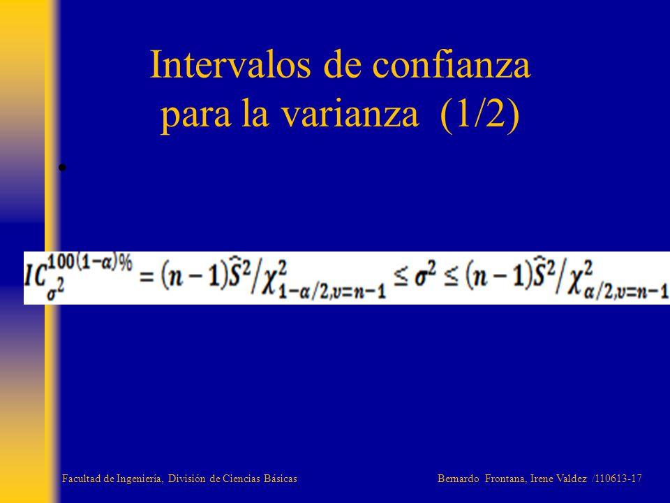 Intervalos de confianza para la varianza (1/2) Facultad de Ingeniería, División de Ciencias Básicas Bernardo Frontana, Irene Valdez /110613-17