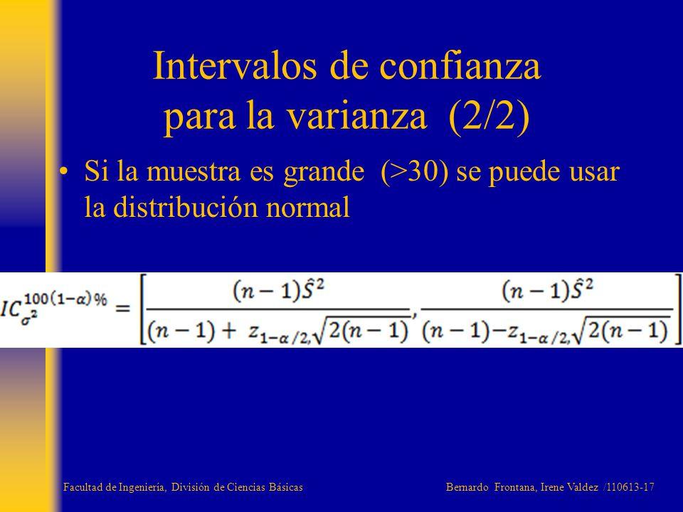 Si la muestra es grande (>30) se puede usar la distribución normal Intervalos de confianza para la varianza (2/2) Facultad de Ingeniería, División de